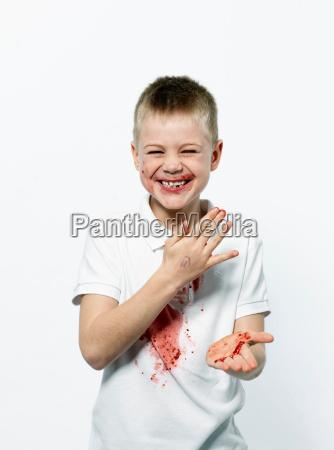 boy having fun with jam