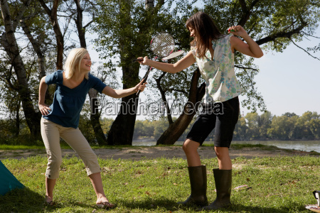 two women play fighting