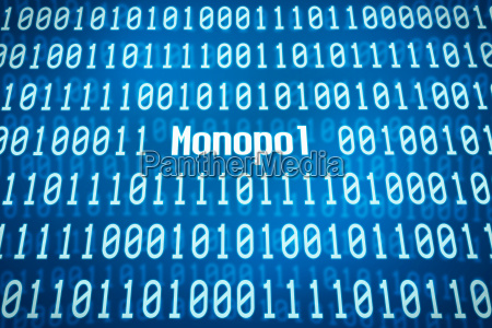 binary code with the word monopoly