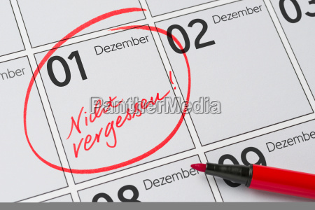 calendar with a mark not forget