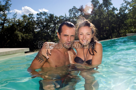 couple in a swimming pool