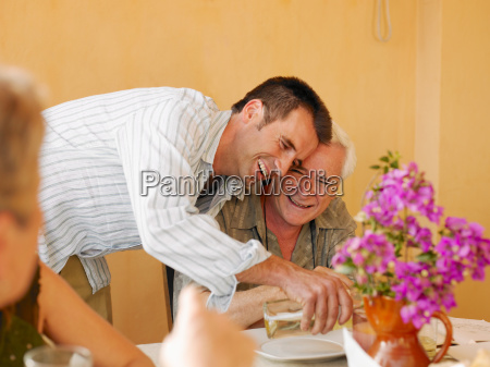 senior adult man sitting at dining