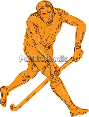 feldhockey spieler laufen mit stock zeichnung