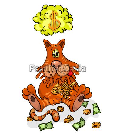 cartoon charakter happy cat haelt geld