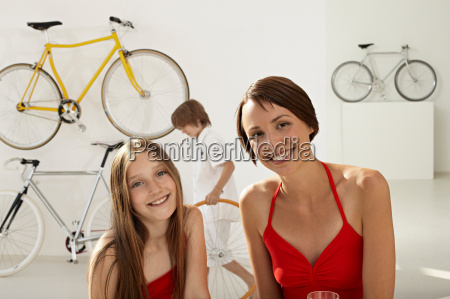 mother and daughter in bikestore