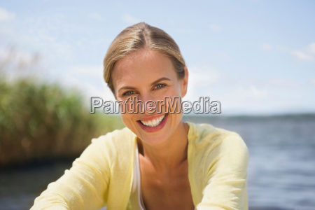 outdoor portrait of a smiling woman