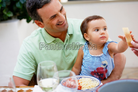 father and daughter having lunch
