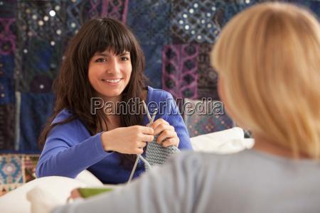 women knitting and chatting