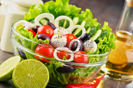 composition with vegetable salad bowl balanced