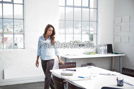 businesswoman walking in office