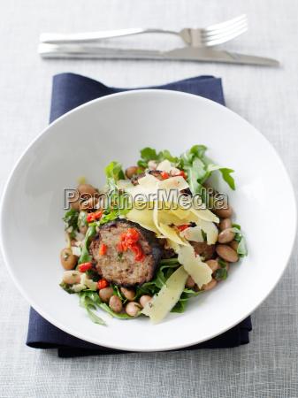 bowl of borlotti bean salad