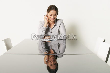 young business woman at desk