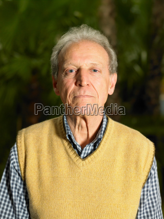 senior adult man in garden portrait