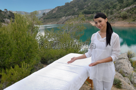 woman in front of a massage