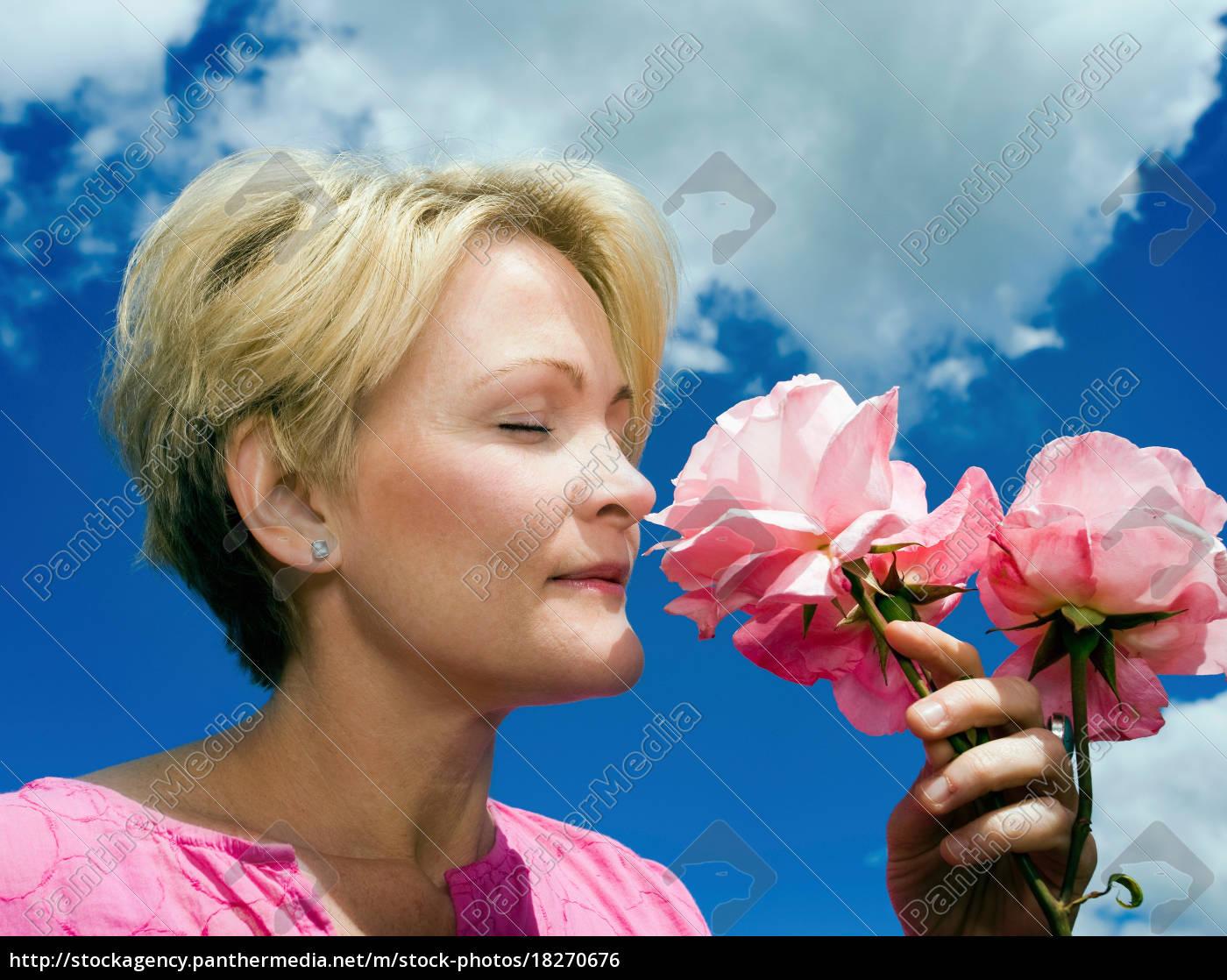 women, smelling, roses - 18270676