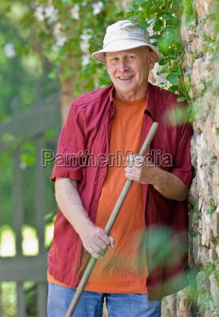 portrait of a man gardening
