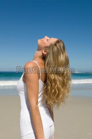 smiling female on beach