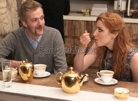 couple having tea in cafe