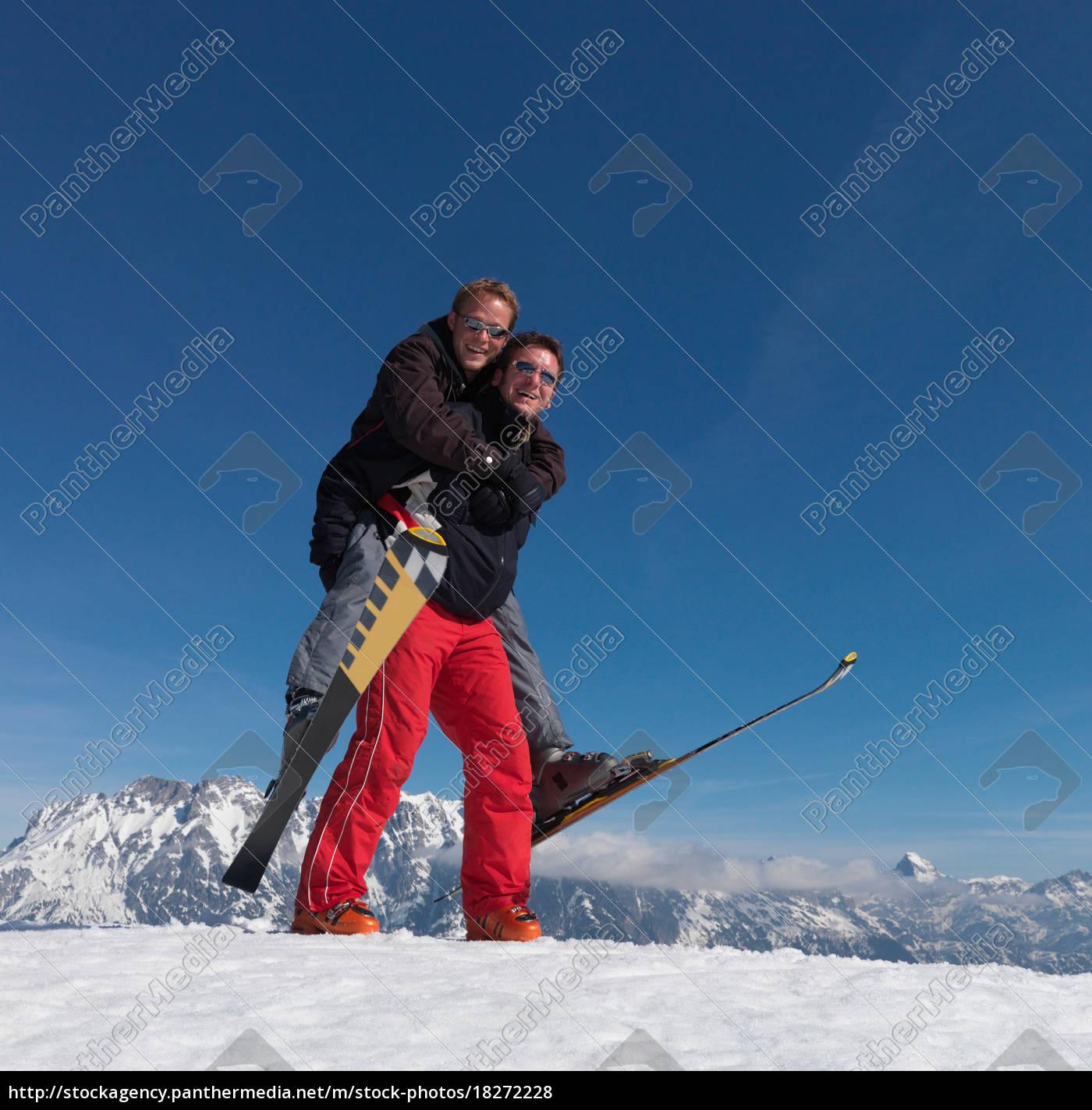 skiers, playing, piggyback, ride - 18272228