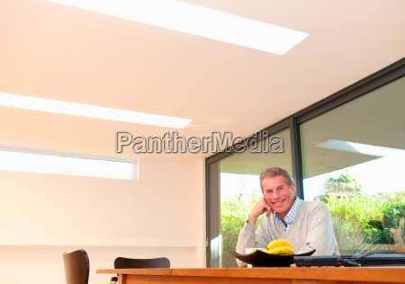 happy business man at desk