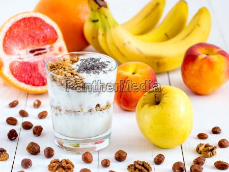 yogurt with fresh fruits and nuts