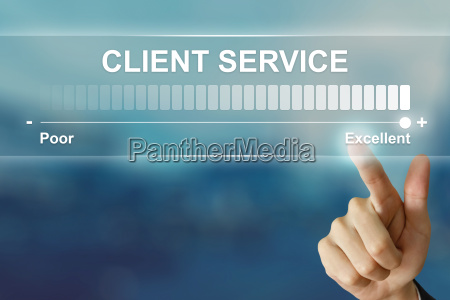 business hand clicking excellent client service