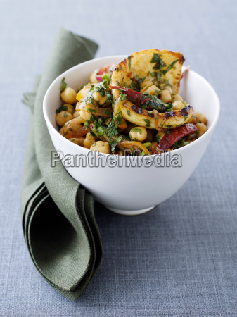 bowl of cuttlefish and chickpea salad