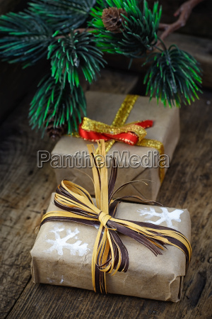 boxes with gifts for christmas