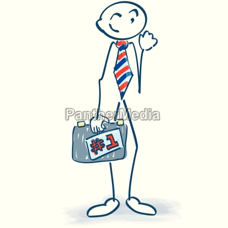 stick figure as a businessman with