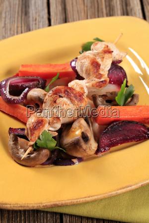 chicken skewer and vegetables