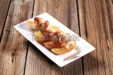 chicken souvlaki with roasted potato