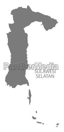 sulawesi selatan indonesien karte grau