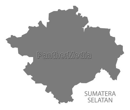 sumatera selatan indonesien karte grau