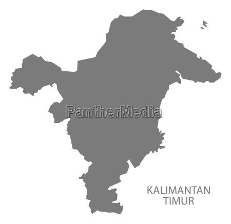 kalimantan timur indonesien karte grau