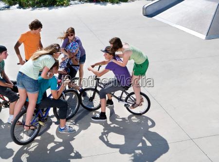 teen group on bikes