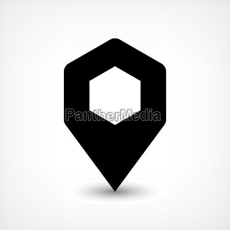 black map pin flat location sign