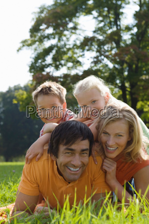 a family portrait in the park