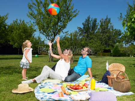 family having a picnic in the