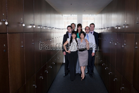 business people in locker room portrait