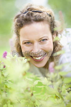 outdoor portrait of middle aged woman