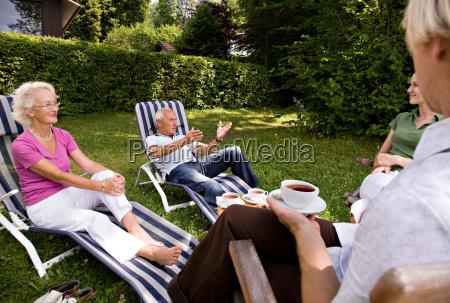 senior couple man woman sit together