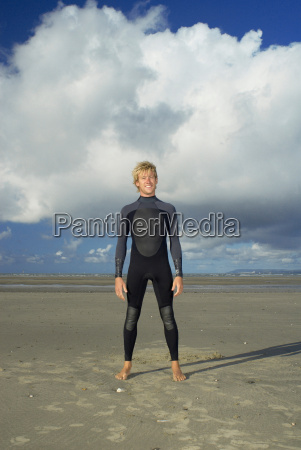 surfer standing on beach