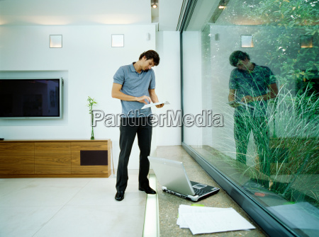 businessman talks on mobile phone