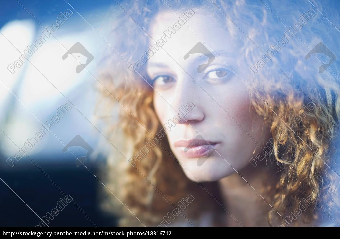 woman, behind, a, window - 18316712
