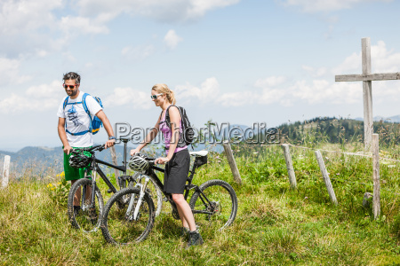 couple on mountain bikes tyrol austria