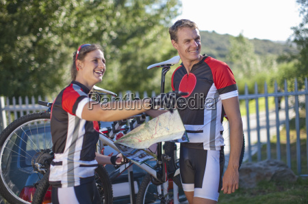 cyclists preparing for road trip