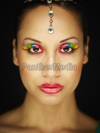 frau mode farbe weiblich gesicht portrait