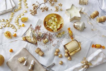 stilleben kerze golden party feier fest