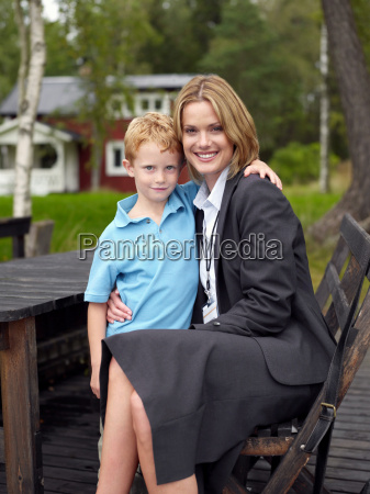 mother and son in back yard
