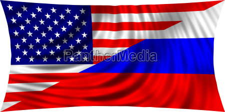 american and russian flag together waving